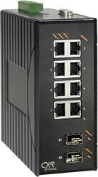 DIN rail ruggedized industrial Gigabit Ethernet switch